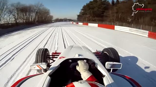 Formula Car on Snow Covered Nurburgring!