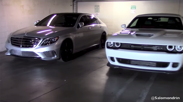 prior to the launch of the dodge charger srt hellcat the mercedes benz s65 amg was the worlds most powerful production sedan but what sounds better