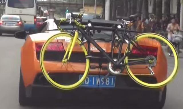 Video Lamborghini Gallardo With Bike Rack In China Gtspirit