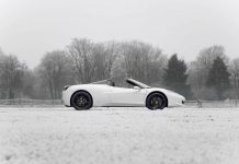 Bianco Ferrari 458 Spider Out in the Snow