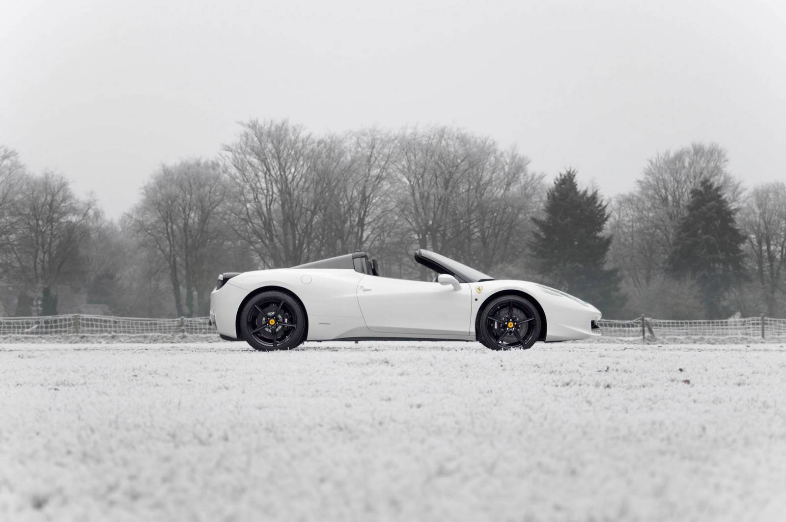 Bianco Ferrari 458 Spider Out In The Snow Gtspirit