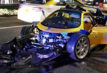 Yellow Pagani Zonda F Crashes in Dubai