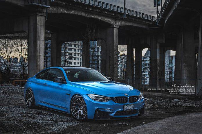 Yas Marina Blue BMW M4 with Smoke Black Brixton Wheels