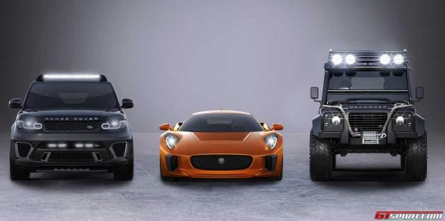 Spectre cars Range Rover Sport SVR with Jaguar C-X75 and Defender Big Foot