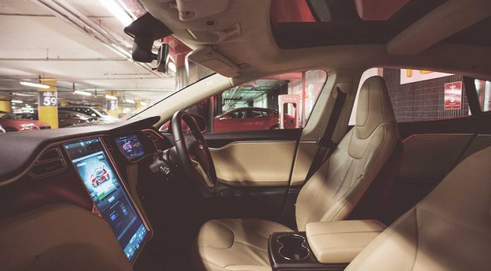 Tesla S luxurious leather in cabin at Westfield centre in London
