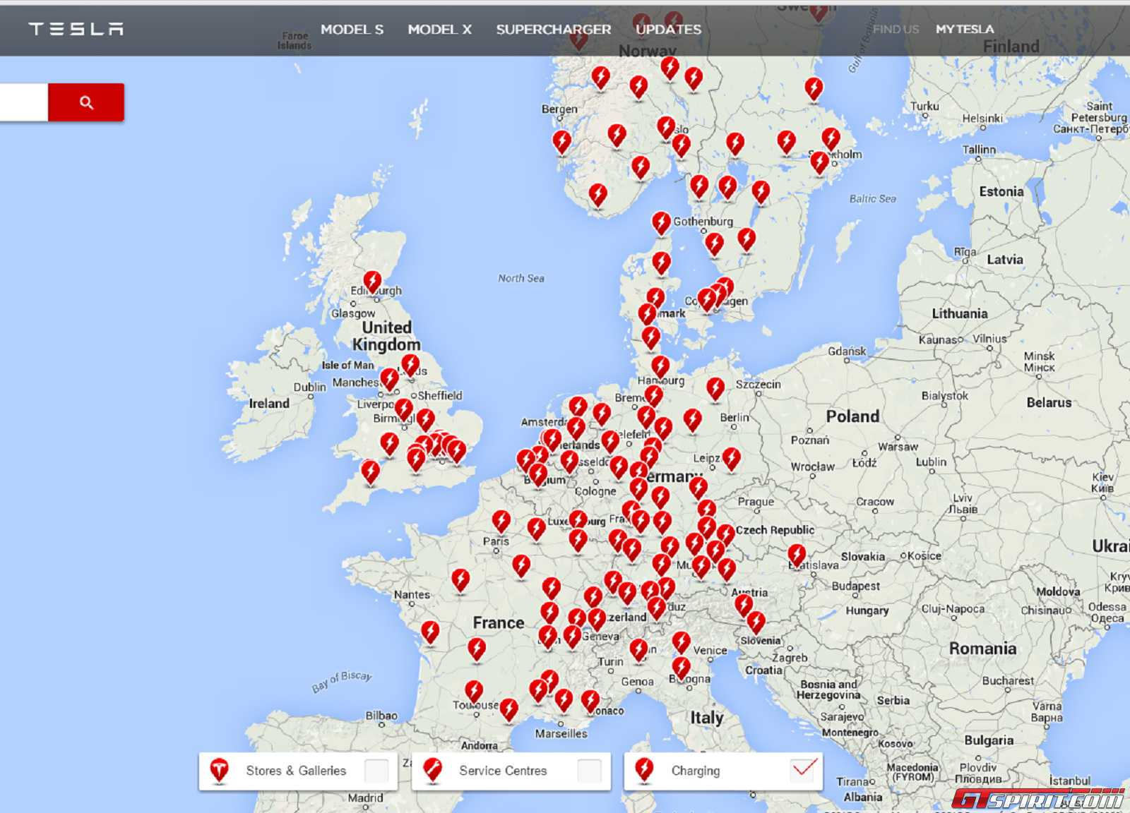 map shows the booming network of superchargers in eu