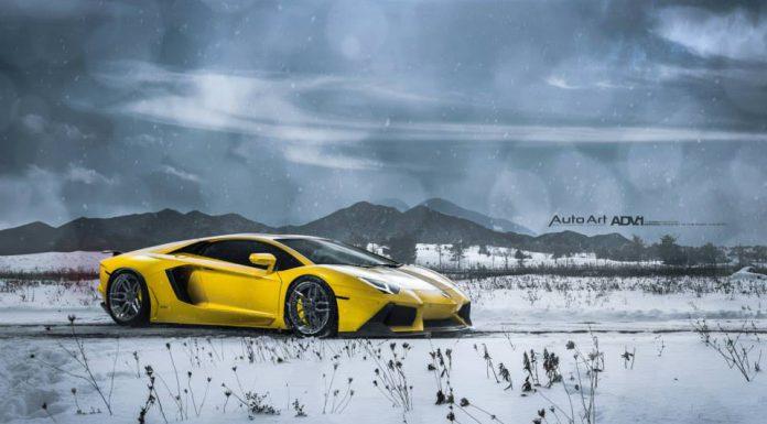 Lamborghini Aventador with Liquid Smoke ADV.1 Wheels in a Snow Storm