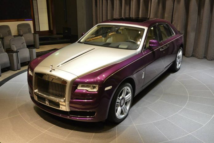 Purple Silk Metallic Rolls-Royce Ghost Series II in Abu Dhabi