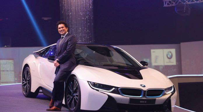 Sachin Tendulkar with the Bmw i8