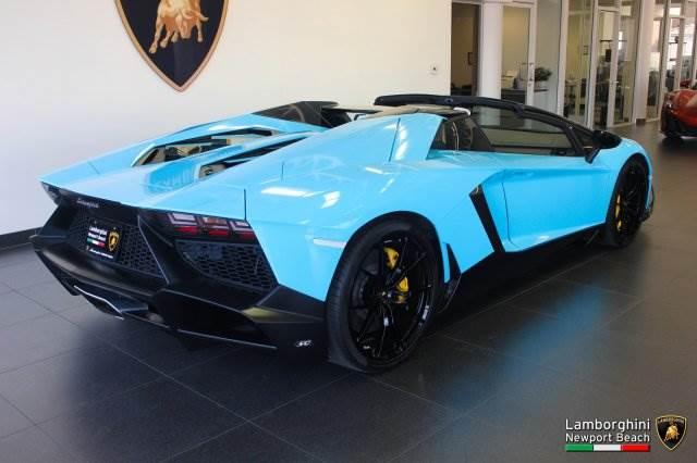 Baby Blue Lamborghini Aventador Roadster 50th Anniversario