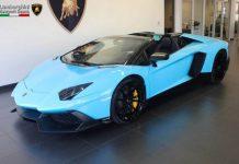 Baby Blue Lamborghini Aventador Roadster LP720-4