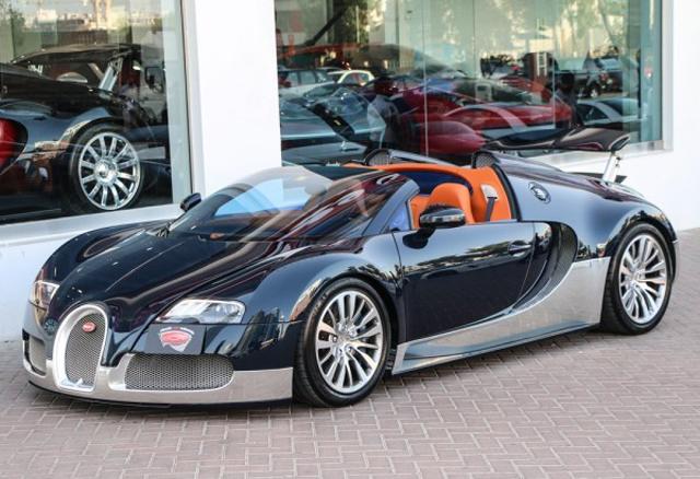 Blue and Silver Bugatti Veyron Grand Sport For Sale GTspirit