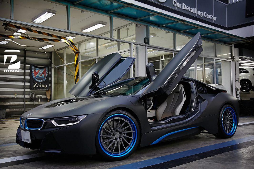 Thai BMW i8 Gets Custom Blue ADV.1 Wheels