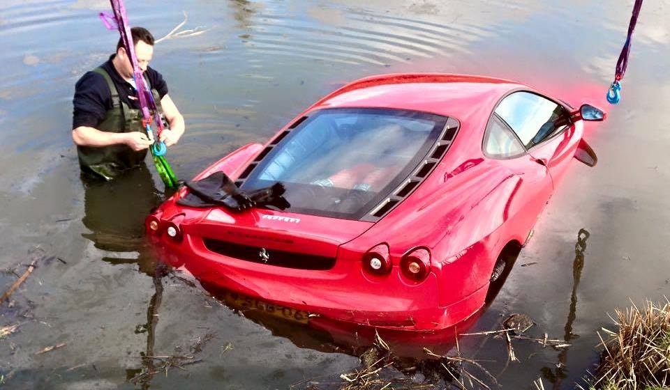 Ferrari F430 Crashes into Flooded Ditch in The Netherlands - GTspirit