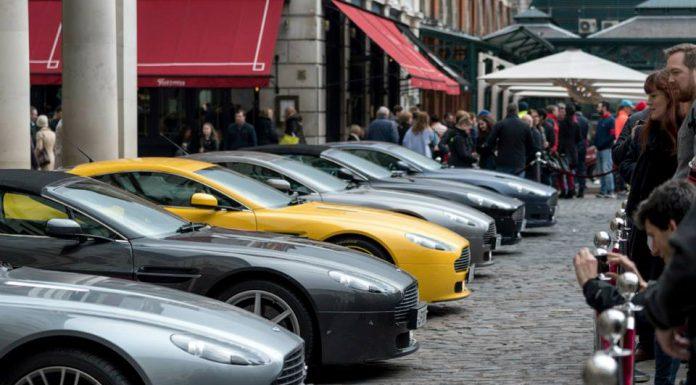 James Bond Aston Martin Cars Displayed on London Streets