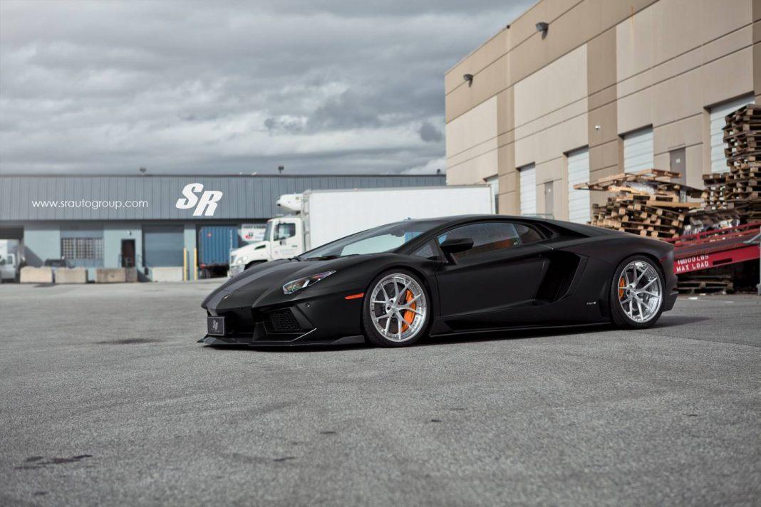 Matte Black Lamborghini Aventador Lowered on PUR Wheels