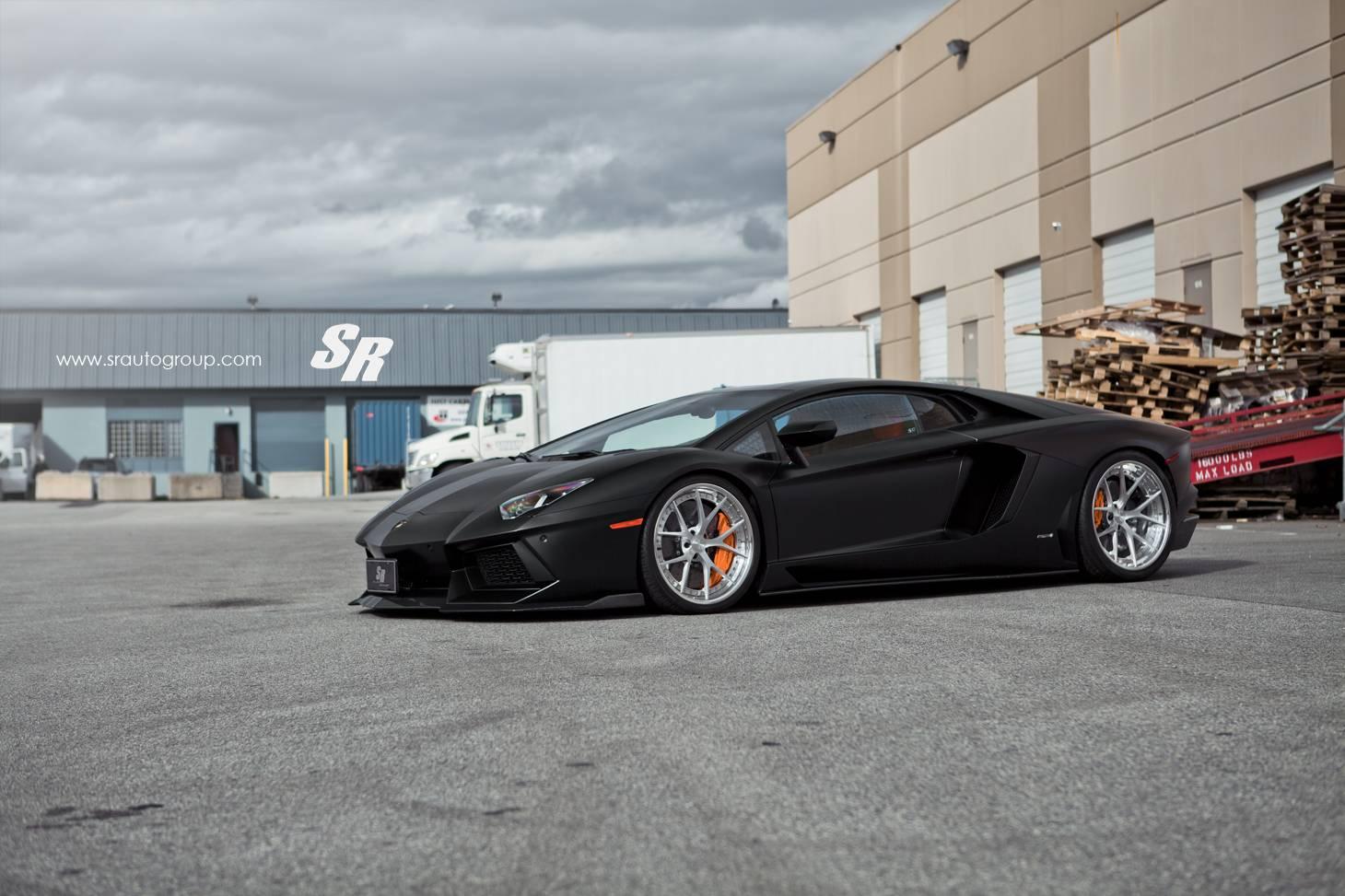 Matte Black Lamborghini Aventador Lowered on PUR Wheels ...