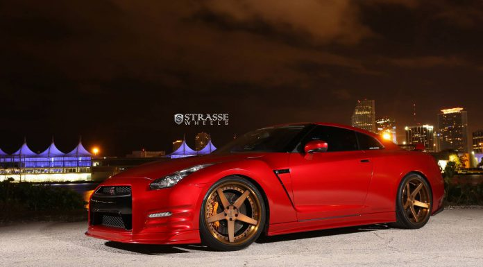Satin True Blood Nissan GT-R with Brushed Bronze Strasse Wheels