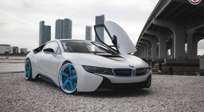 White BMW i8 custom HRE Wheels