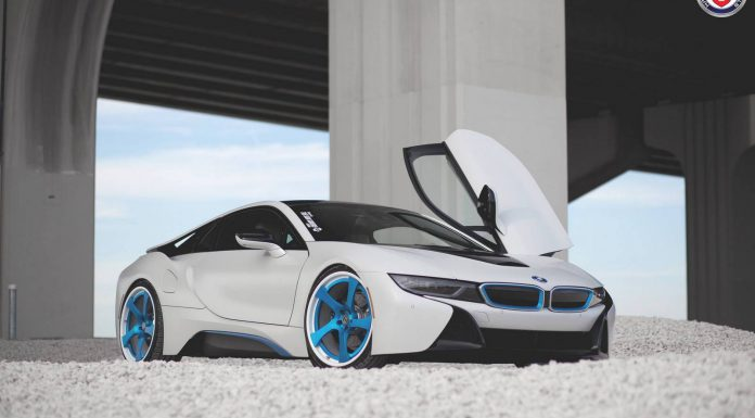 White BMW i8 Lowered on Blue HRE Wheels