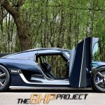Blue Carbon Koenigsegg One:1 doors up
