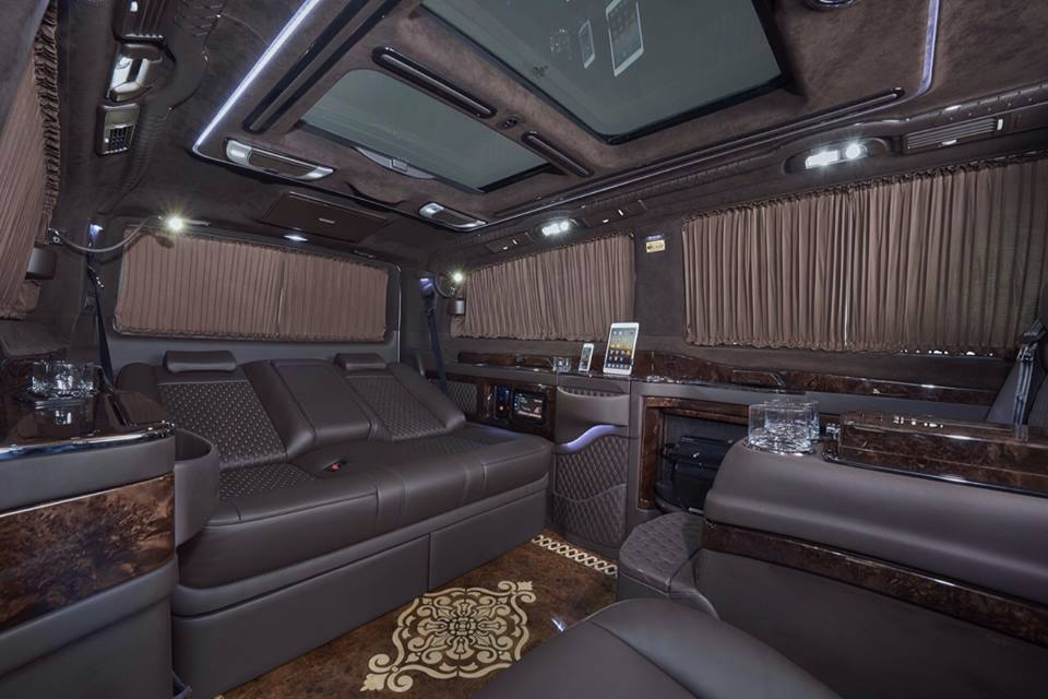 mercedes benz viano fitted with luxurious custom interior gtspirit. Black Bedroom Furniture Sets. Home Design Ideas