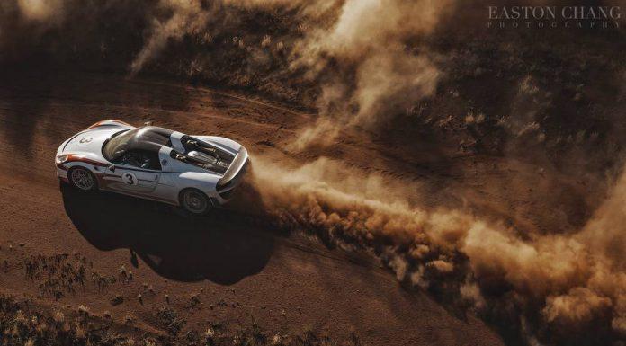 Porsche 918 Spyder skidding in dust