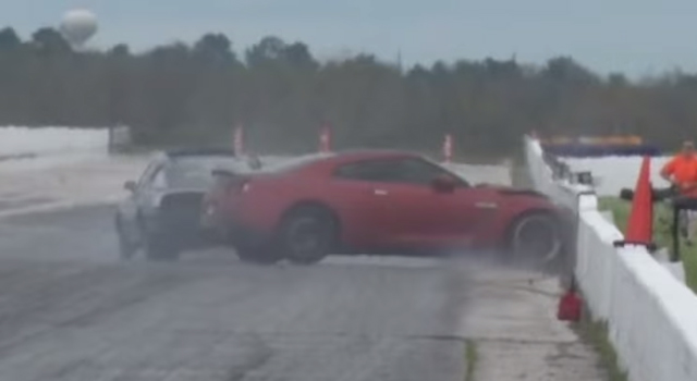 Mazda RX-7 Crashes Into 1100hp Nissan GT-R in Drag Race
