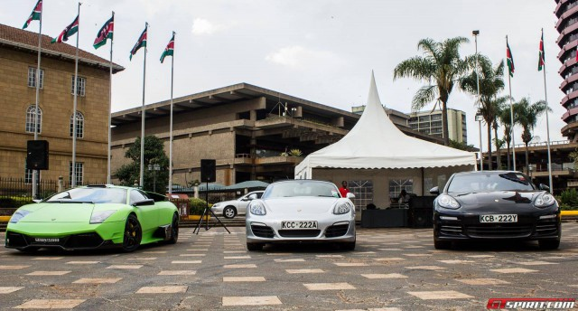2015 Nairobi Auto Festival Lamborghini Murcielago, Porsche Boxster, Porsche Panamera