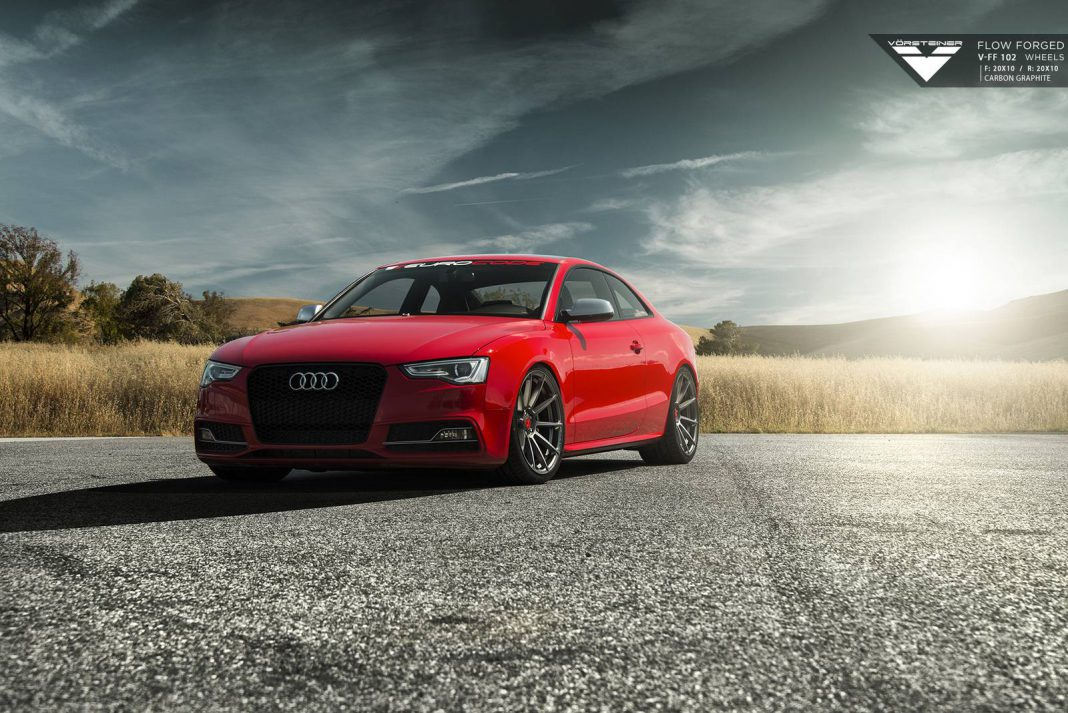 Red Audi S5 with Deep Concave Vorsteiner Wheels