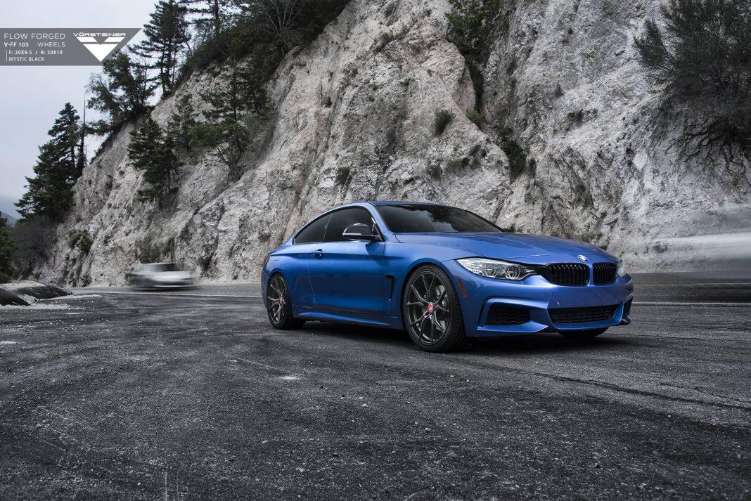 Estoril Blue BMW 4 Series with Carbon Graphite Vorsteiner Wheels