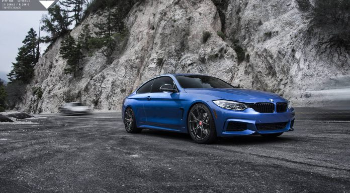 Estoril Blue BMW 4 Series with Carbon Graphite Vorsteiner Wheels