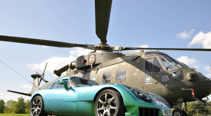 2015 Supercar Siege TVR beside Royal Navy Merlin helicopter
