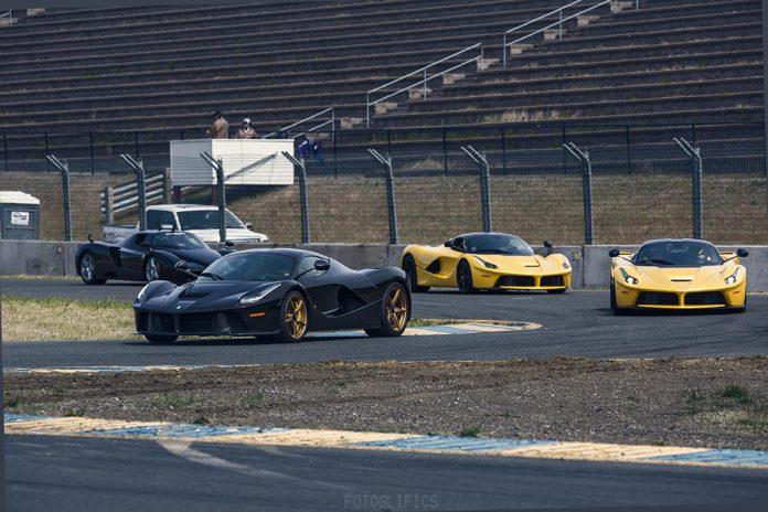 Three Ferrari LaFerrari's and an Enzo at Sonoma Raceway