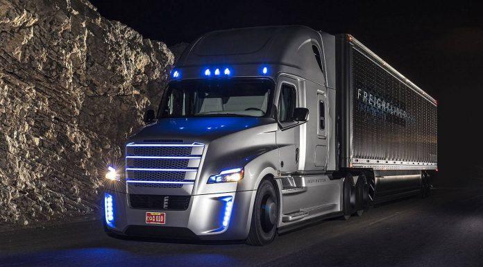 Freightliner Inspiration Truck Interior at night