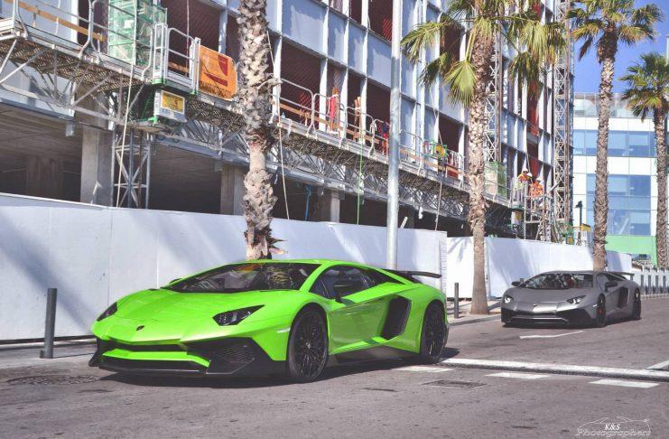 Green and Grey Lamborghini Aventador SV