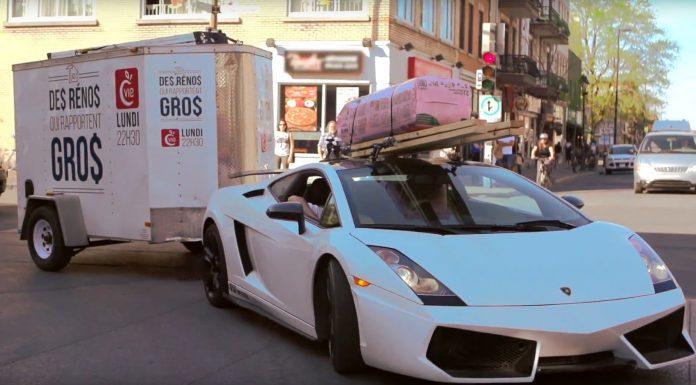 Lamborghini Gallardo tows a trailer