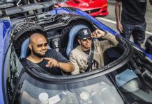 Lewis Hamilton drives Koenigsegg Agera HH at Gumball 3000