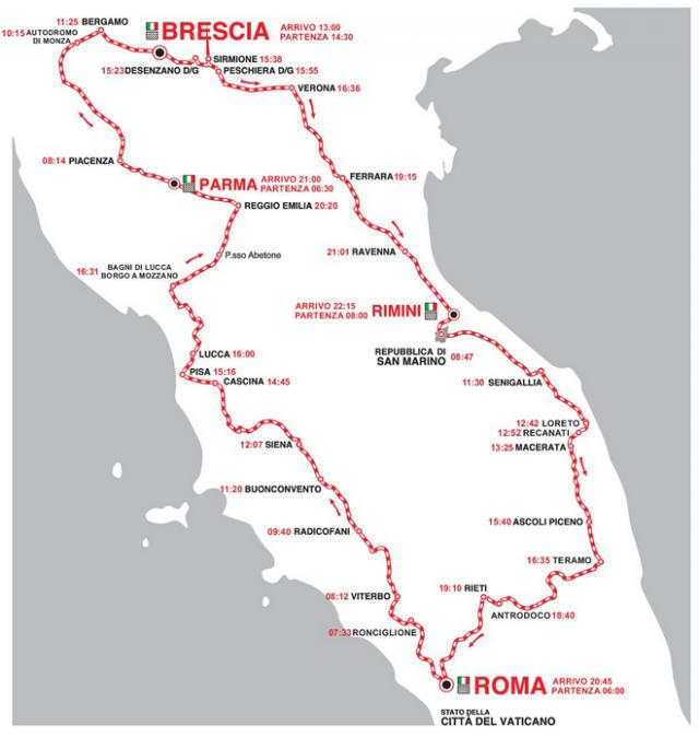 Mille Miglia 2015 Route