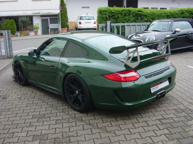 British Racing Green Porsche 911 GT3 RS Rear view
