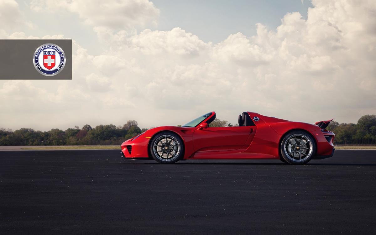 red porsche 918 spyder with dark clear hre wheels gtspirit. Black Bedroom Furniture Sets. Home Design Ideas