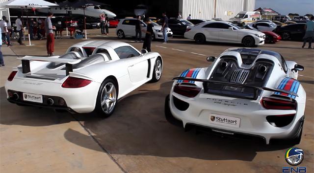Porsche 918 Spyder vs Porsche Carrera GT drag race