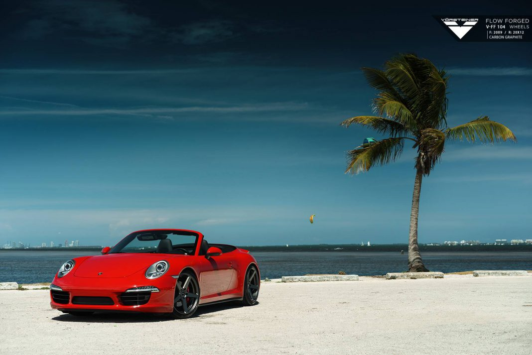 Red Porsche 911 Carrera 4S Lowered on Vorsteiner Wheels