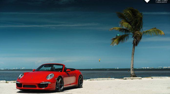 Red Porsche 911 Carrera 4S Lowered on Vorsteiner Wheels