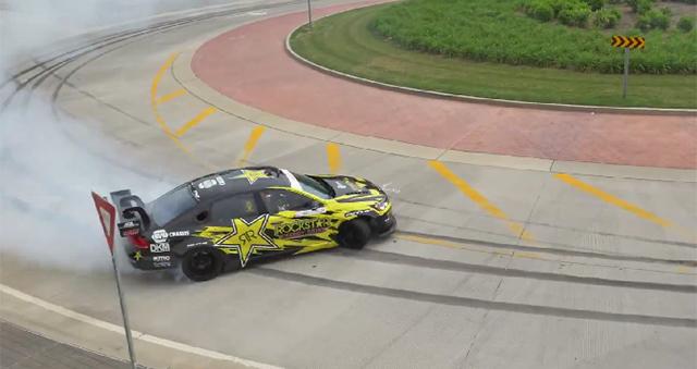 Tanner Foust drifts his Volkswagen Passat