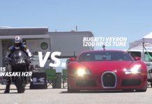 Video: Kawasaki H2R Takes on Bugatti Veyron and Nissan GT-R