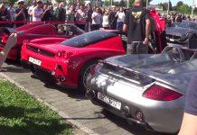 Porsche Carrera GT, Ferrari Enzo, Koenigsegg rev battle