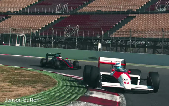 Fernando Alonso drives Ayrton Senna's McLaren MP4/4