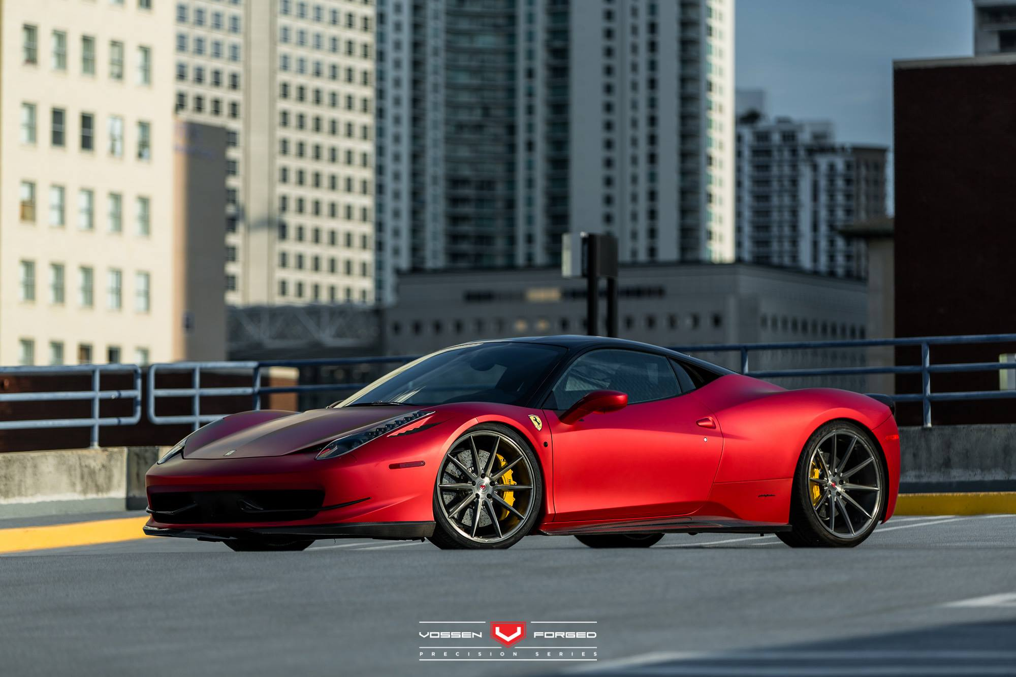 rosso fuoco opaco and bianco ferrari 458 italia duo with vossen wheels gtspirit. Black Bedroom Furniture Sets. Home Design Ideas