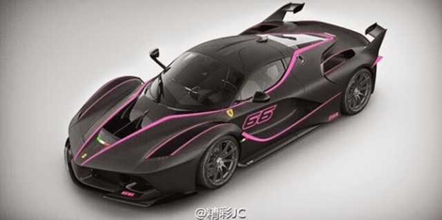 Pink and black LaFerrari FXX K front